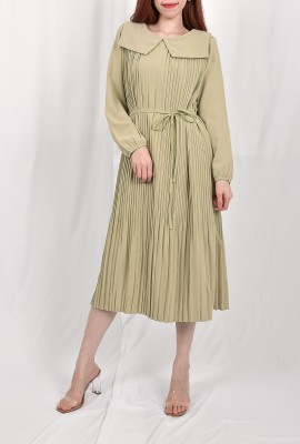Pleated Bishop Sleeve Midi Dress