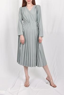 Drawstring Pleated Dress