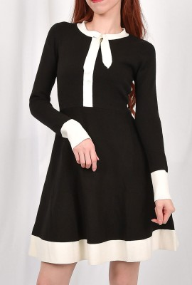 Bow Collar Flare  Knit Dress